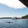"20160725.  Ferry ""Sealth"" passes under Aurora Avenue Bridge and into Lake Union (Seattle WA).  The Sealth is heading to a Lake Union drydock for maintenance."