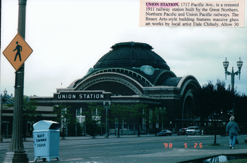 Union Station - Tacoma, WA  5-25-98<br /> Restored 1911 railway station built by Great Northern Pacific and Union Pacific railways.  The Beaux Arts style building features massive glass art works by local artist Dale Chihuly.