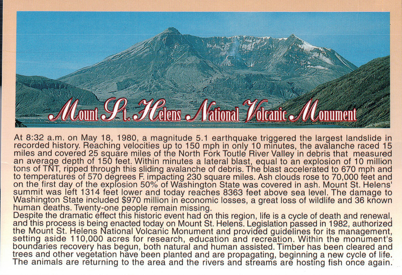 Mount St. Helens National Volcanic Monument Postcard - May 1998
