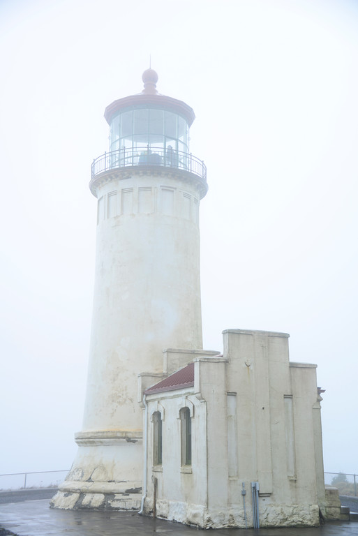 North Point Lighthouse In the Fog - Cape Disappointment - Washington Travel Photography - USA