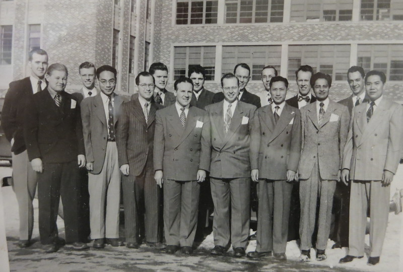 A display case had pictures of ceramic engineering students. Here they are in 1950; Dad is third from the right in the back row.