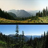 We could see Mt. Adams (on the left) and Mt. St. Helens (barely visible on the right). The top picture is from 1992, the bottom one from our trip.