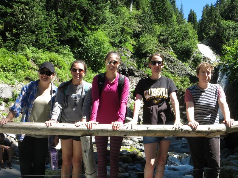 Lindsey, Katelyn, Ellie, Casey, Flora at Lower Comet Falls.