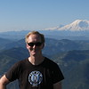 Me with Mt. Adams (looks like a cloud above my right elbow) and Mt. Rainier.