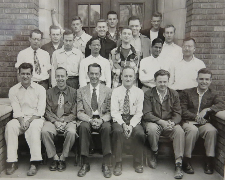 Here they are in 1953-1954; Dad is front row, second from the left; his graduate advisor, James Mueller, is to his right.