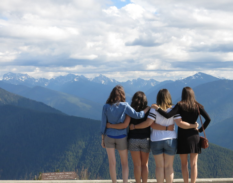 Casey, Katelyn, Lindsey, Ellie looking at the Olympic Mountains from Hurricane Ridge.