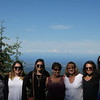 The next day, Bev and Flora took off for the wine country of Oregon, while the rest of us went to the Olympic Peninsula. Here are Heather, Lindsey, Ellie, Ann, Lisa, Katelyn, and Casey at an overlook on the road to Hurricane RIdge, with Canada in the distant background.