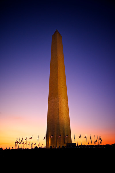 The Washington Monument at sunset.
