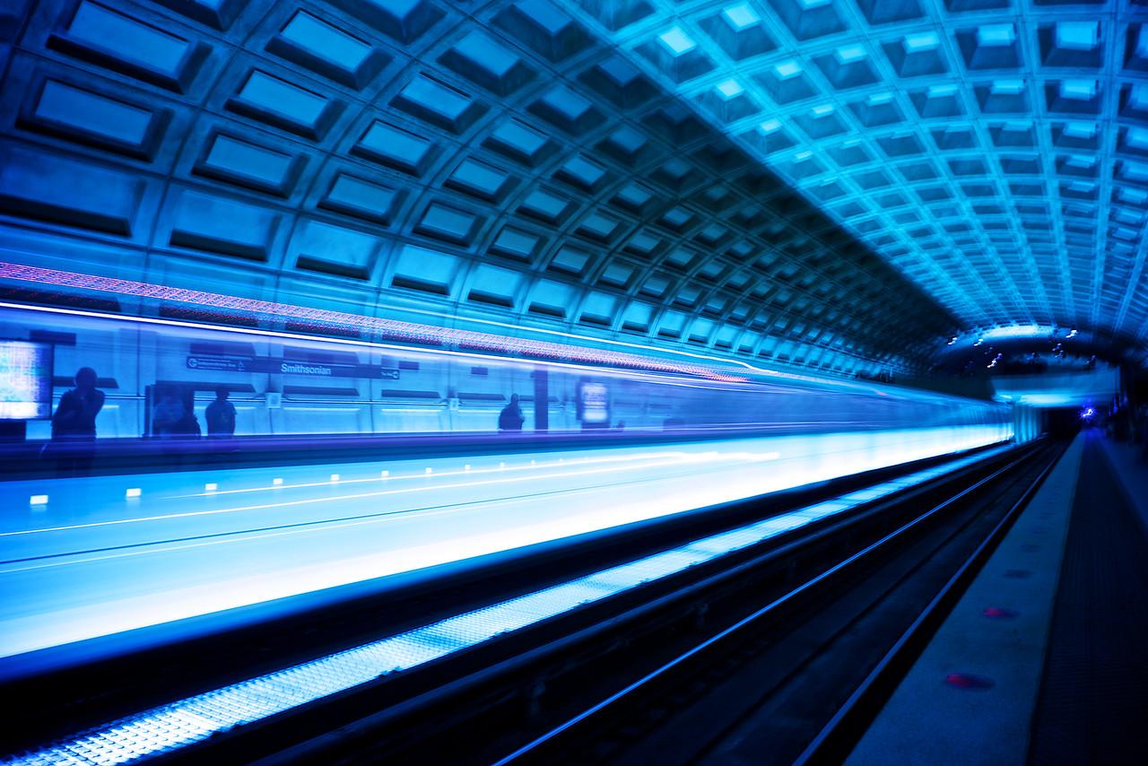 A subway rolls in - Washington DC.