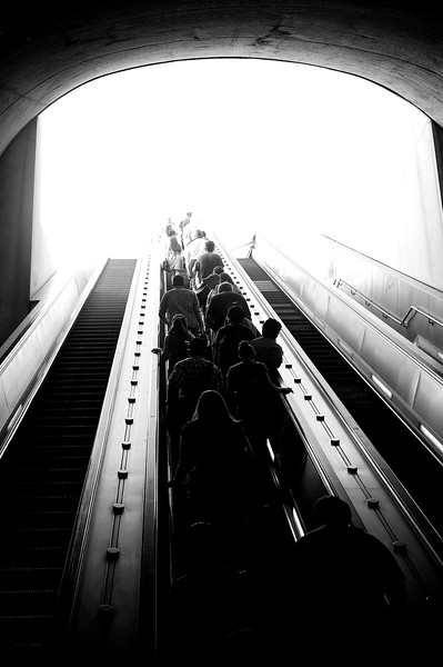 Subway riders heading to street level in Washington, DC.