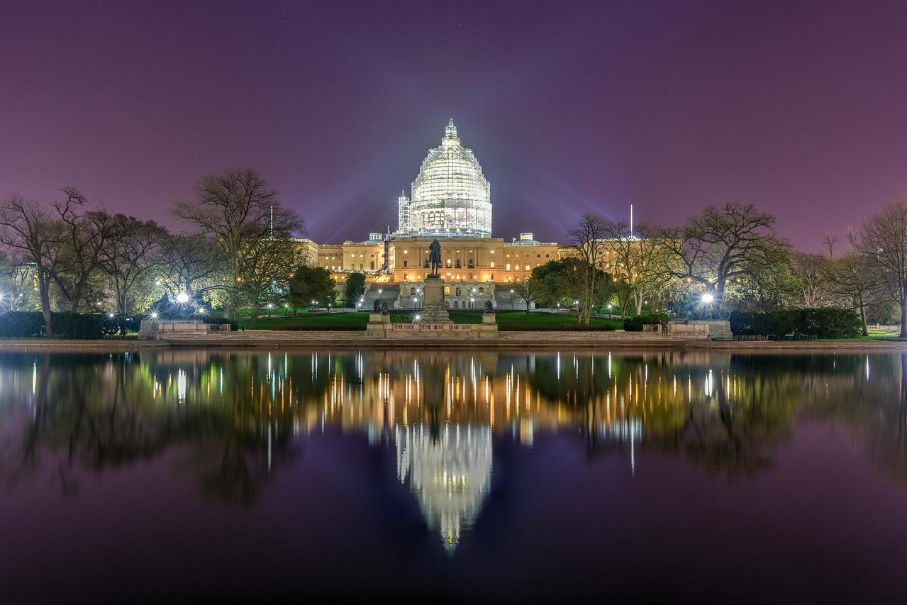 Capitol Building at Night Construction - Washington, D.C.