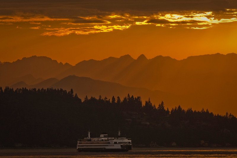 Glorious sunset over Puget Sound, aboard the Bremerton to Seattle Ferry, with a sister ship in view.