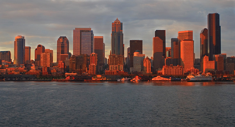 I turned 180 degrees to capture the Seattle skyline bathed in the golden warmth of same sunset photographed in previous two images