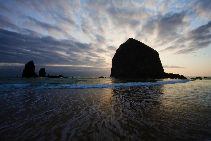 Haystack Rock and sisters at Cannon Beach, Oregon
