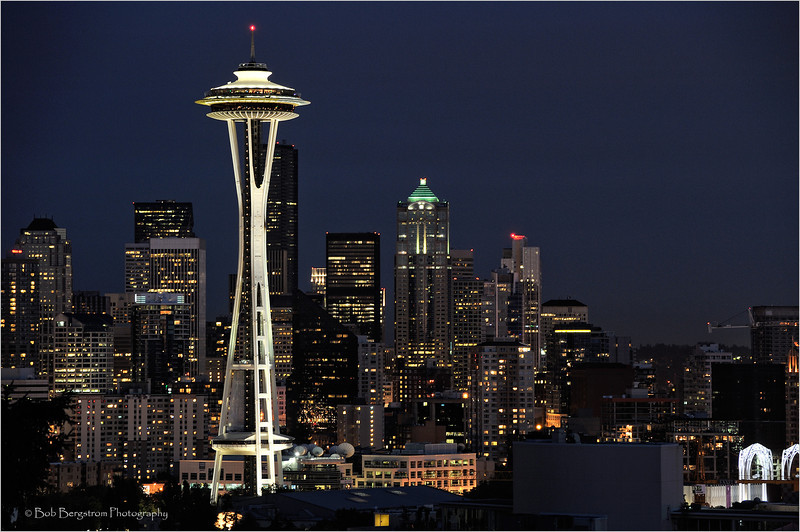 Seattle downtown and Space Needle at night, with city lights
