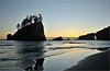 Sea stacks and beach at sunset off the west coast of the Olympic Peninsula in Washington state.