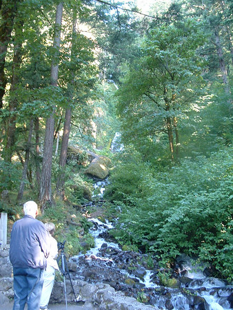 Water falls along the Columbia River in Or