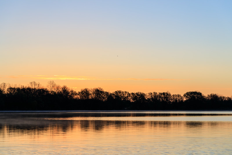 Looking down the Bay of Quinte before sunrise from the foot of Herchimer.
