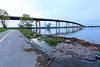 Norris Whitney Bridge and path along the Bay of Quinte. High water level.