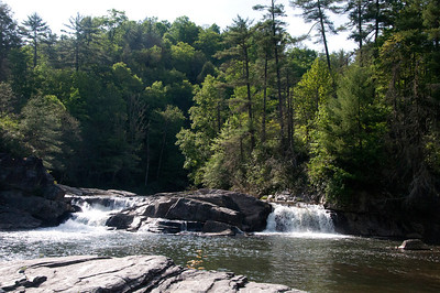 The beginning of the dramatic Linville Falls in North Carolina.