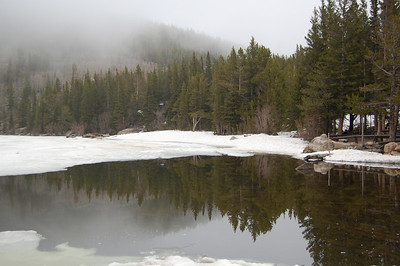 Wintery reflection at Rocky Mtn National Park.