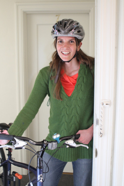 Laura back from a bike adventure