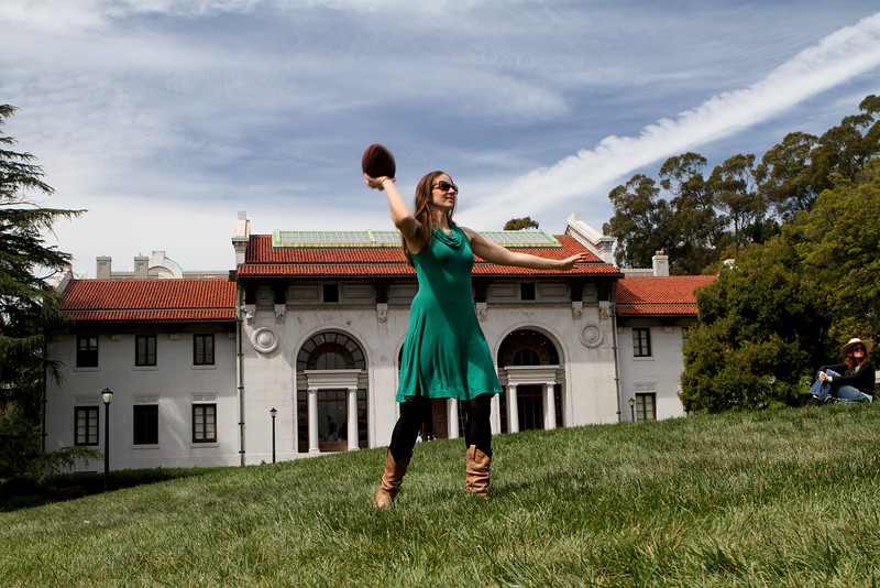 Laura stays in the game when we tour the Berkeley campus.