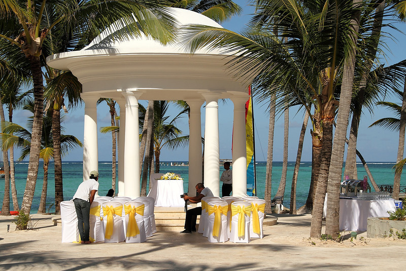 The gazebo at our hotel, the Barvelo Bavaro, set up for a wedding ceremony.