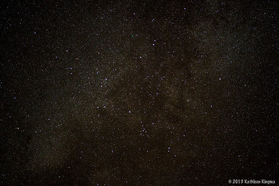 Milky Way thru the 85mm f/1.4 Rokinon lens.  The Coat Hanger is at the lower center of the image.
