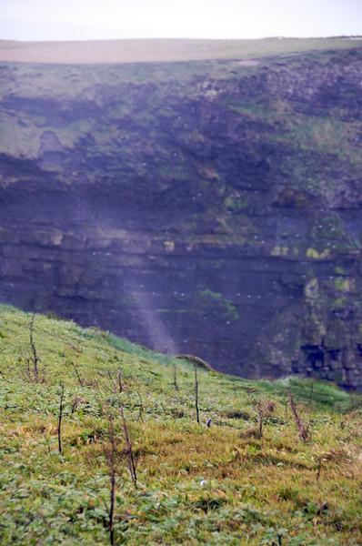 Ocean spray blowing up the cliffs.