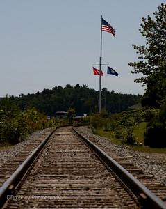 Train tracks crossing through Wiscasset.