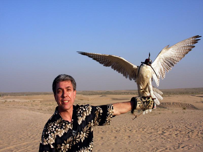Ralph training a falcon in Dubai (UAE).