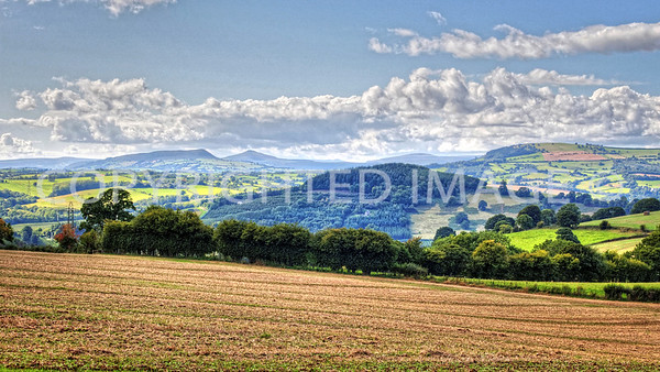 View towards Skirrid Fawr and Sugarloaf with Edmund's Tump (right) from Pembridge Castle on the Broad Oak Rd