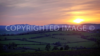 Late evening view  looking west towards Sugarloaf and Pen-y-Fan