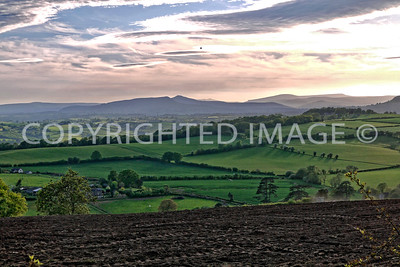 Late evening view towards Sugarloaf and the Brecon Beacons
