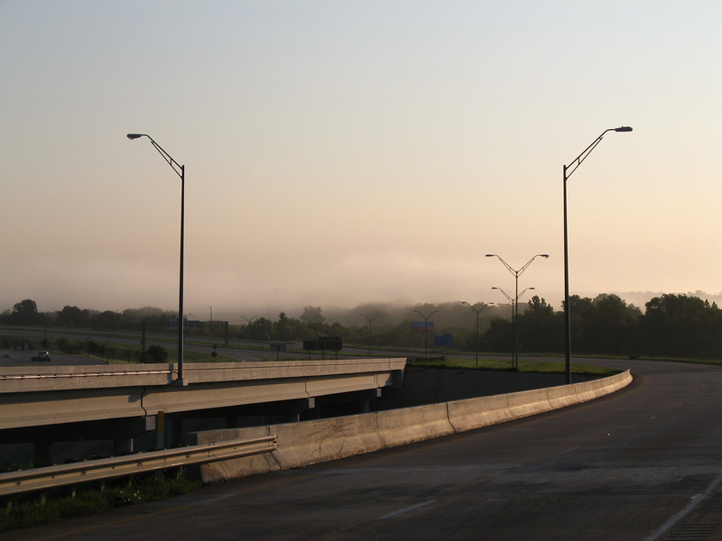 Fog over the Red River.  It got even thicker a few miles further- to the point that I really had to slow down- in July!