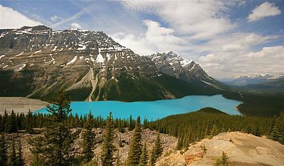 Onwaarschijnlijke kleuren. Peyto Lake vanaf Bow Summit. Banff National Park, Alberta, Canada.