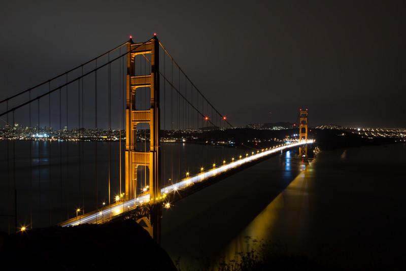 San Francisco Golden Gate Bridge at rainy night