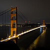 San Francisco Golden Gate Bridge at rainy night