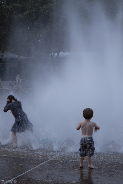 During hot day, city center, Portland