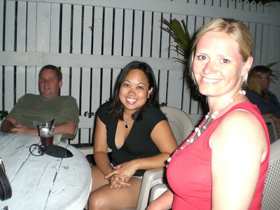 Bryan, Jackie and Mary at an outdoor bar.