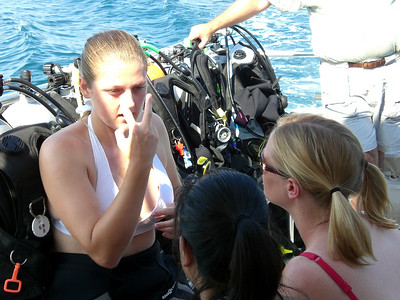 Our SCUBA instructor, Allison Knox, gives Mary and me instructions before our first boat dive.