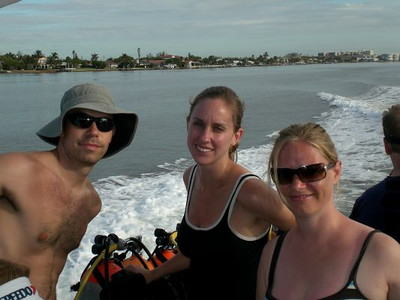 Michael, Stacy, and Mary on the boat.