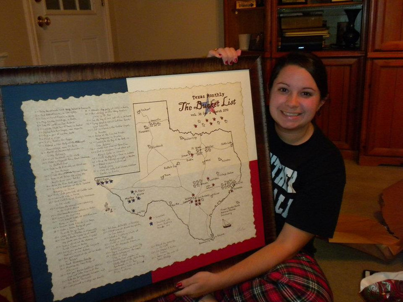 As a Christmas gift, I created a map for my sister to visual represent her Bucket List quest.  The stars filled in with red are items she's completed.  The stars filled in with blue are items we're about to complete on our West Texas Road Trip 2011, my gift to her for her upcoming 25th birthday.  Let the fun begin!