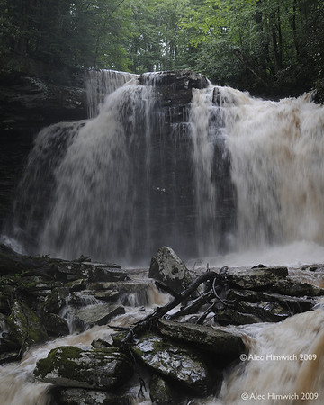 This is the third of three falls on the Hills Creek Trail in the Cranberry Wilderness Area of the Monongahela  National Forest.  The brown tint in the water is due to runoff from a heavy rainfall a few hours before this photo was taken.