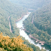 Train Running Alongside the River - New River Gorge National River Area, WV  9-1-01