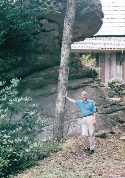 Randal Holding Up a Tree - Babcock State Park, Fayette County, WV  9-3-01