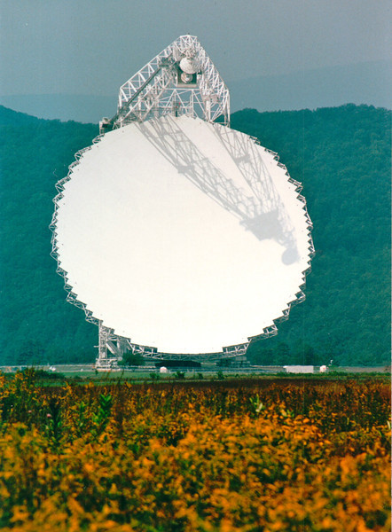 Robert C. Byrd Green Bank Telescope - National Radio Astronomy Observatory - Green Bank, WV  9-3-01<br /> The world's premiere single-dish radio telescope operating at meter to millimeter wavelengths. Its enormous 100-meter diameter collecting area, its unblocked aperture, and its excellent surface accuracy provide unprecedented sensitivity across the telescope's full 0.1 - 116 GHz operating range, a larger frequency (energy) range than any other telescope. The GBT is fully steerable, and 85% of the entire celestial sphere is accessible. Its operation is highly efficient, and it is used for astronomy about 6500 hours every year, with 2000-3000 hours per year going to high frequency science. Part of the scientific strength of the GBT is its flexibility and ease of use, allowing for rapid response to new scientific ideas.