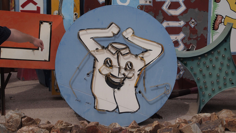 Neon Museum-Old Las Vegas signs<br /> Laundry sign with moving arms