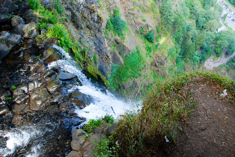"""<span id=""""title"""">Multnomah Falls</span> What a gorgeous place! We hiked to the top, where there is a small observation deck. Notice how far away the cars are... the Multnomah Falls is 620 feet tall."""